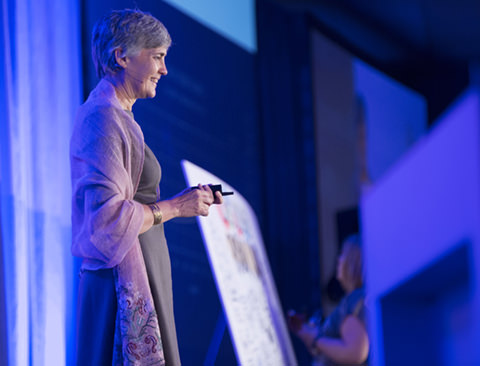 Zipcar founder Robin Chase delivers an impassioned speech highlighting the sharing economy, and the need for humans to collaborate to solve big problems like climate change. (Communitech photo: Meghan Thompson)